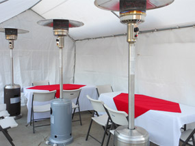 tables chairs round and rectangular we offer both of them to rent for you next party event wedding baptism bar mitzvah free delivery on some packages outdoor Patio heater with propane tank rentals at discount prices free delivery included with rental