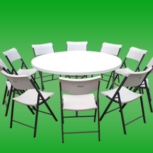 round table with chairs combos and special cheap affordable prices for rent in the valley we provide white and black table cloths for both our tables and chairs keep your food warm a rectangular chafing dish check out our selection of table cloths and diamond/runners for your next birthday Quinceaera bar mitzvah wedding or any other event that you may need rentals for